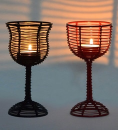 Black & Red Iron Wine Glass Shaped Table Tea Light Holder - Set Of 2