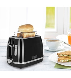 Black And Decker 2 Slices Black Pop-Up Toaster With Bun Warmer