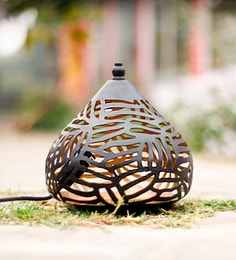 Black And Gold Iron Moroccan Lattu Cone Table Lamp