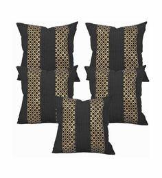 Black Dupion Silk 16 X 16 Inch Cushion Covers - Set Of 5 - 1631265