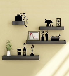 Black Engineered Wood Shelves With Wall Stickers - Set Of 4 By Home Sparkle