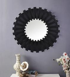 Black Plastic Decorative Sun Shape Wall Mirror