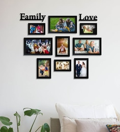 Black Synthetic Wood Set Of 08 Photo Frames With Mdf Plaque- Family -Love