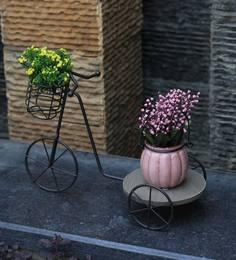 Black Wood Metal Cart Planter Stand