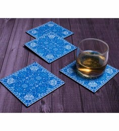 Blank Slate Digital Blue & White Carpet Design Theme Coasters - Set Of 4