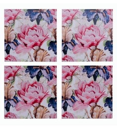 Blank Slate Digital Multicolour Floral Seamless Print Coasters - Set Of 4