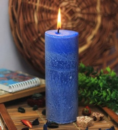 Blue Big Pillar Walk In The Wood Candle
