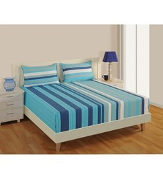 Blue Cotton Fitted Bedsheet   Set Of 3 ...