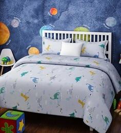 Blue Cotton Queen Size Dinosaurs Kids Bedsheet   Set Of 3 ...