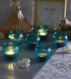Blue Glass Candle Cup Tea Light Holders  - Set Of 6