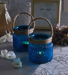 Blue Glass Small Jar With Rope Tea Light Holders  - Set Of 2