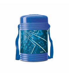 Blue Plastic & Stainless Steel Lunch Box With 4 Leak Lock Containers - 1613445