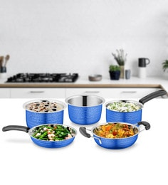 Blue Stainless Steel Cookware Set - Set Of 5
