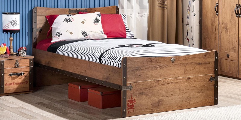 Black Pirate Single XL Bed in Brown Color by Cilek Room