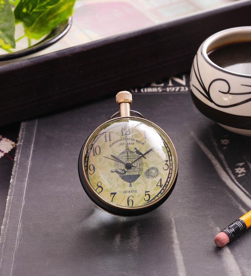 Black & Gold Brass & Acrylic Table Clock - 1727658