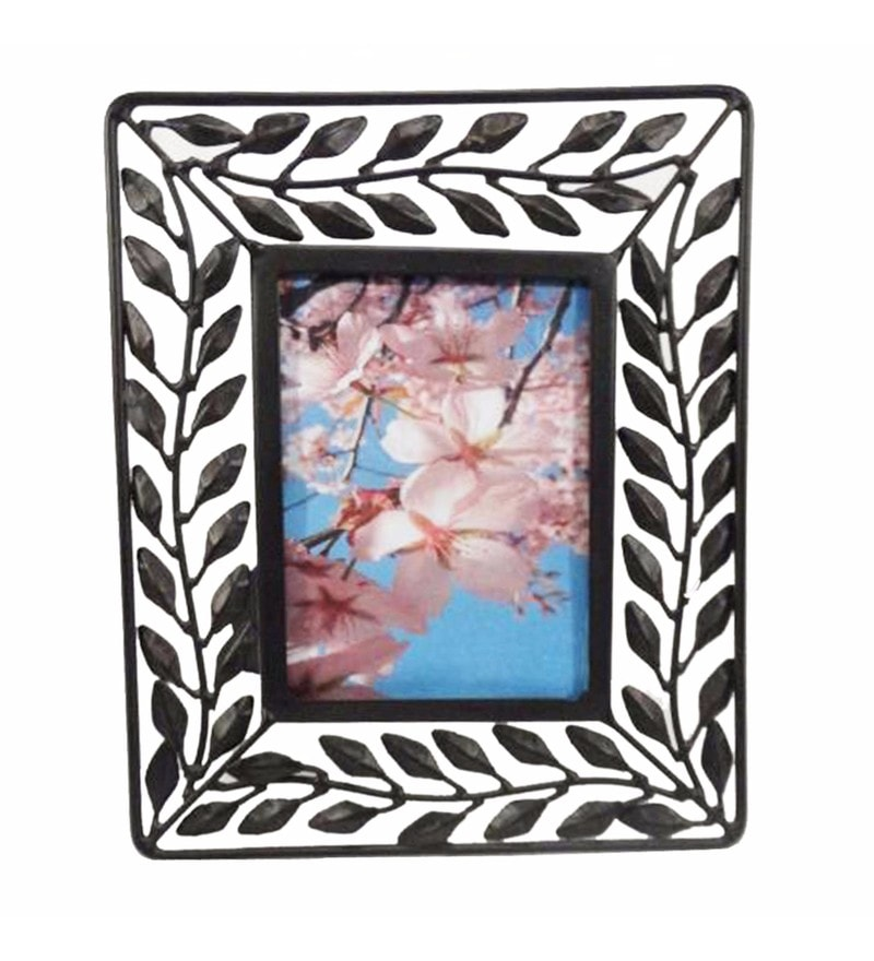 Black & White Iron Beautiful Ieon Leaf Photo Frame by Golmaalshop