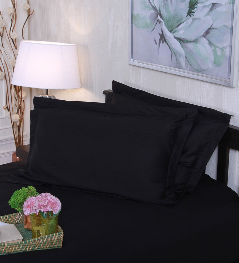 Black 100% Cotton 18 x 27 Inch Pillow Covers - Set of 2 by Mark Home