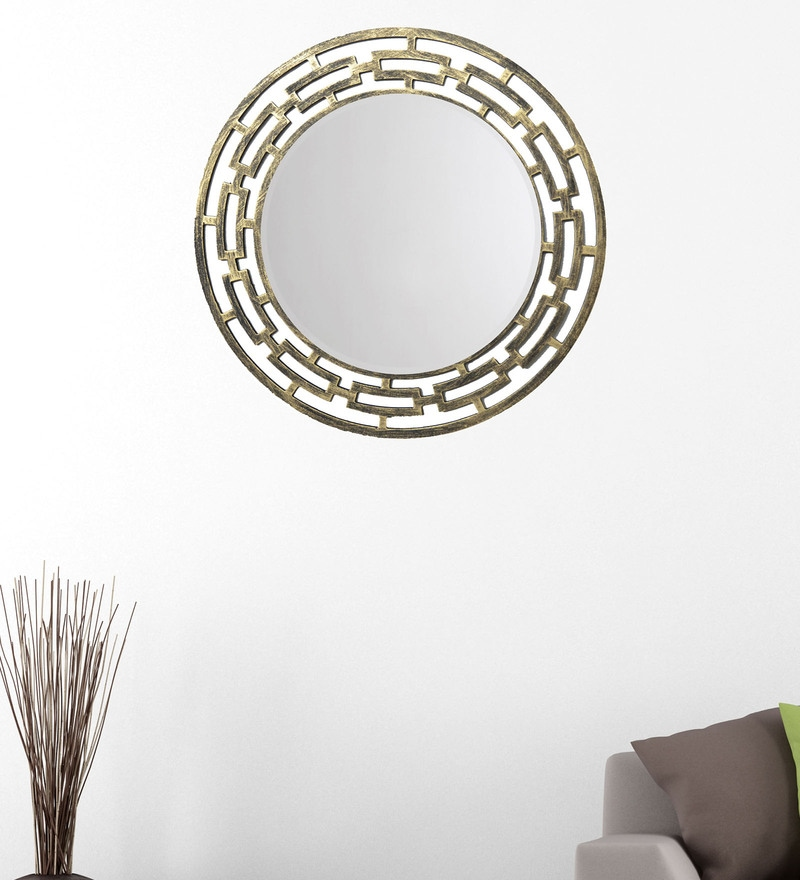 Black And Gold 14.5 x 0.5 x 14.5 Inch Weave Mirror by Height of Designs