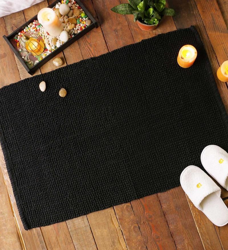 Black Cotton 24 x 36 Lux Jumbo Loop Rug Rug by SWHF