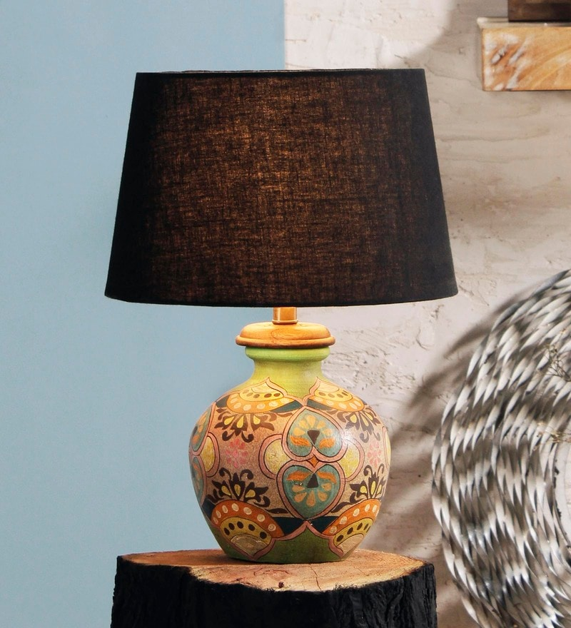 Black Cotton Orson Table Lamp by Fabuliv