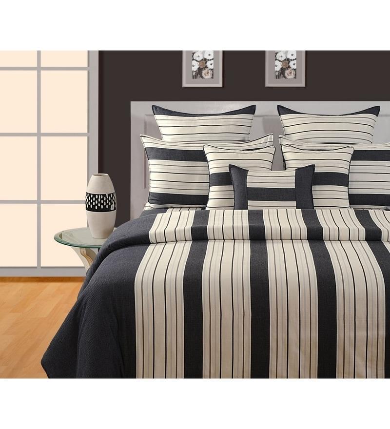 Black Cotton King Size Bedsheet - Set of 3 by Swayam