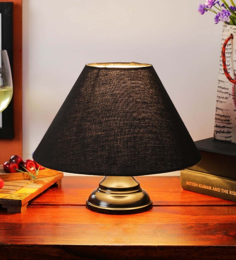 Black Cotton Table Lamp by New Era
