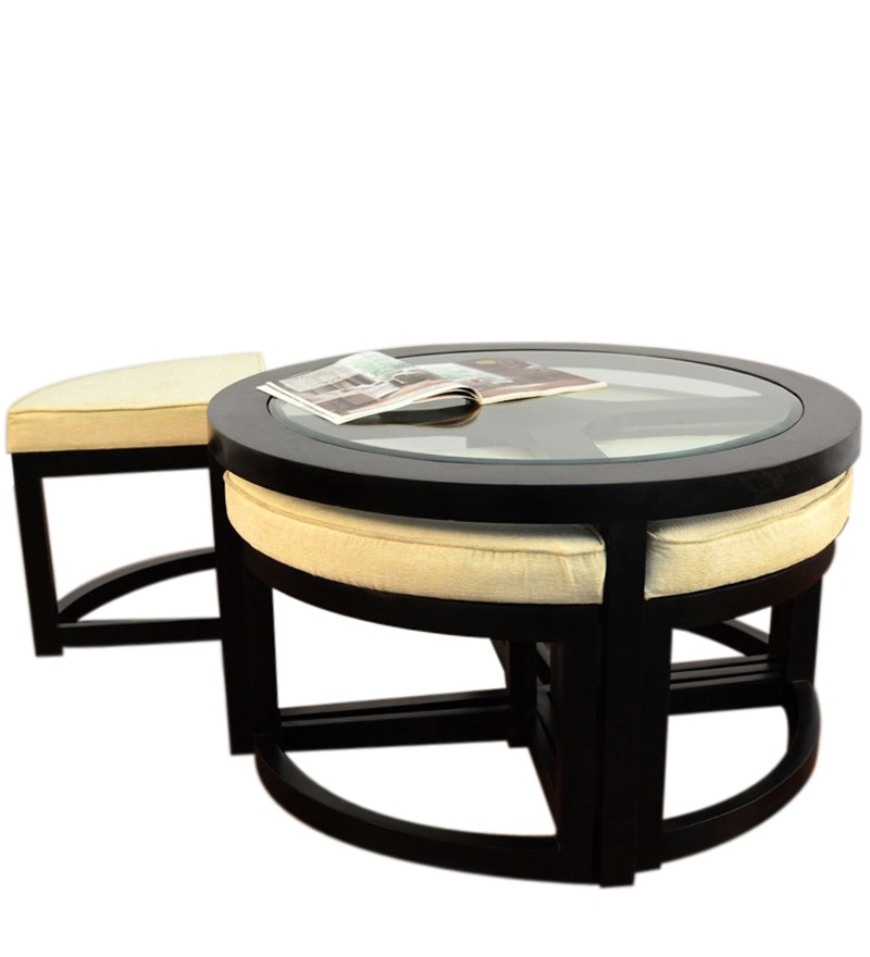 Black Forest Round Coffee Table With 4 Stools By Mudramark