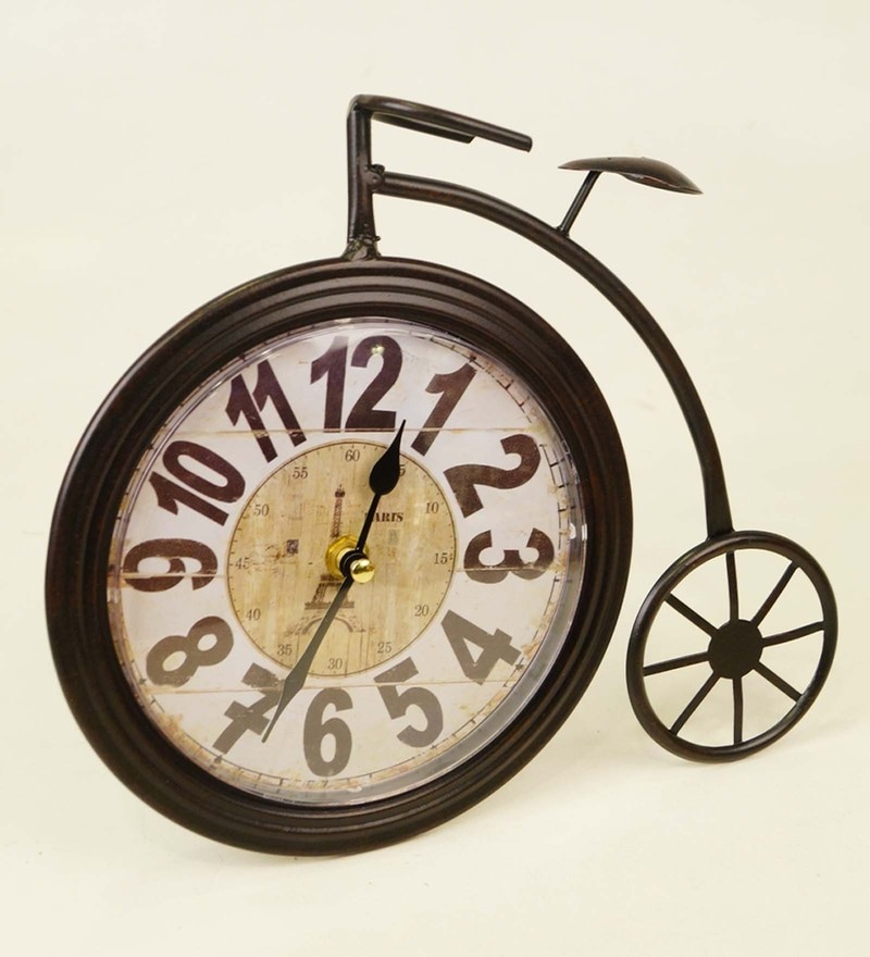Black Metal 10.2 x 0.4 x 8.7 Inch Vintage Cycle Desk Clock by Tu Casa