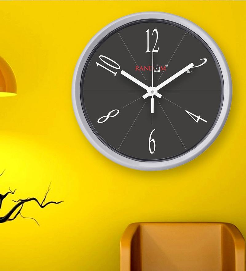 Black Plastic 12 x 2 x 12 Inch Hindustan Wall Clock by Random
