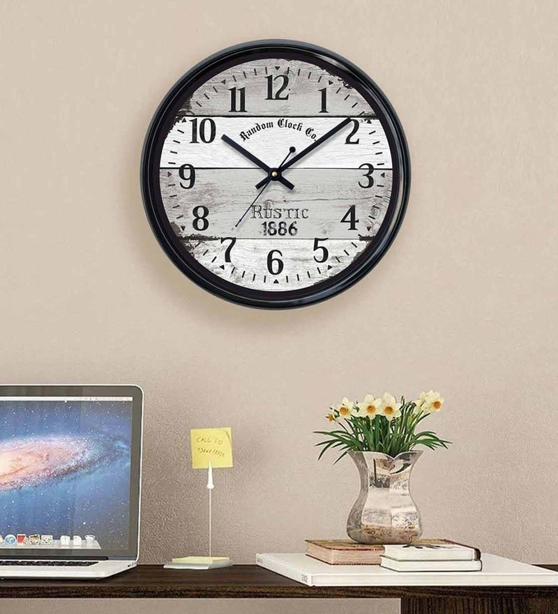 Black Plastic 12 x 2 x 12 Inch Natural Wall Clock by Random