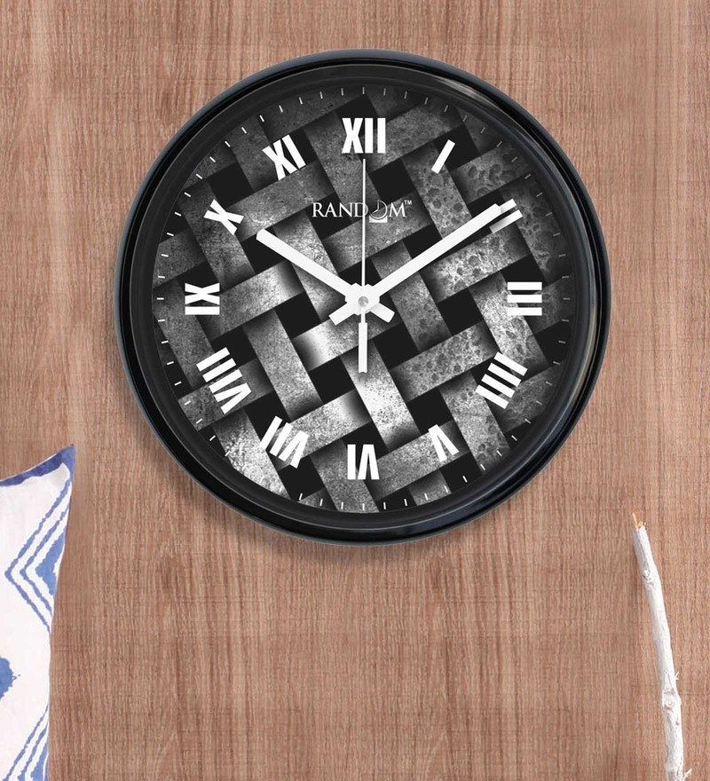 Black Plastic 12 x 2 x 12 Inch Stripes Wall Clock by Random