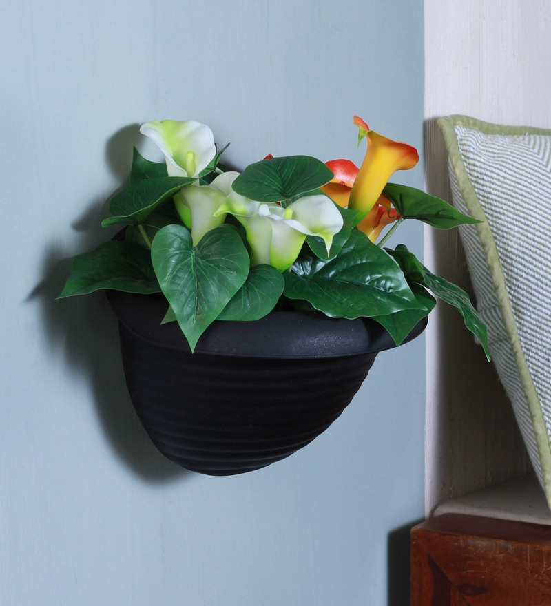 Black Plastic Hanging Planter by Fourwalls
