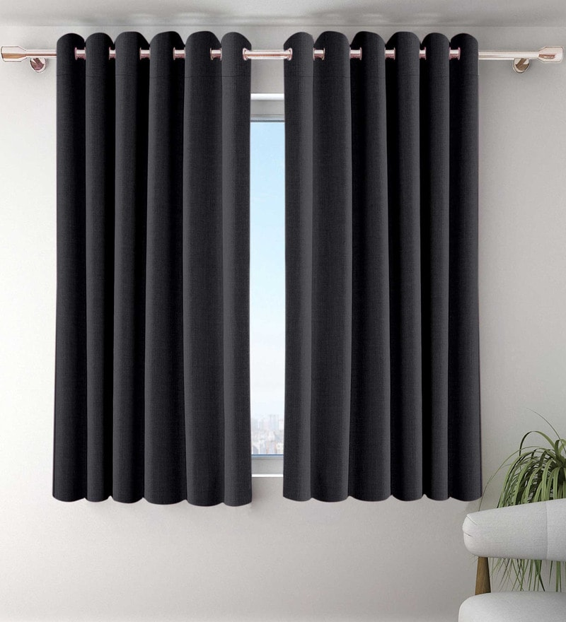 Black Polyester Window Curtains - Set of 2 by Vista Home Fashion