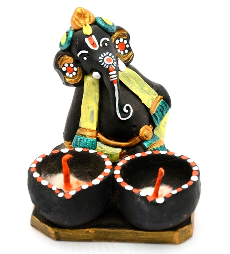 Black Terracotta Handpainted Ganesha With Twin Diyas  Idol by ExclusiveLane