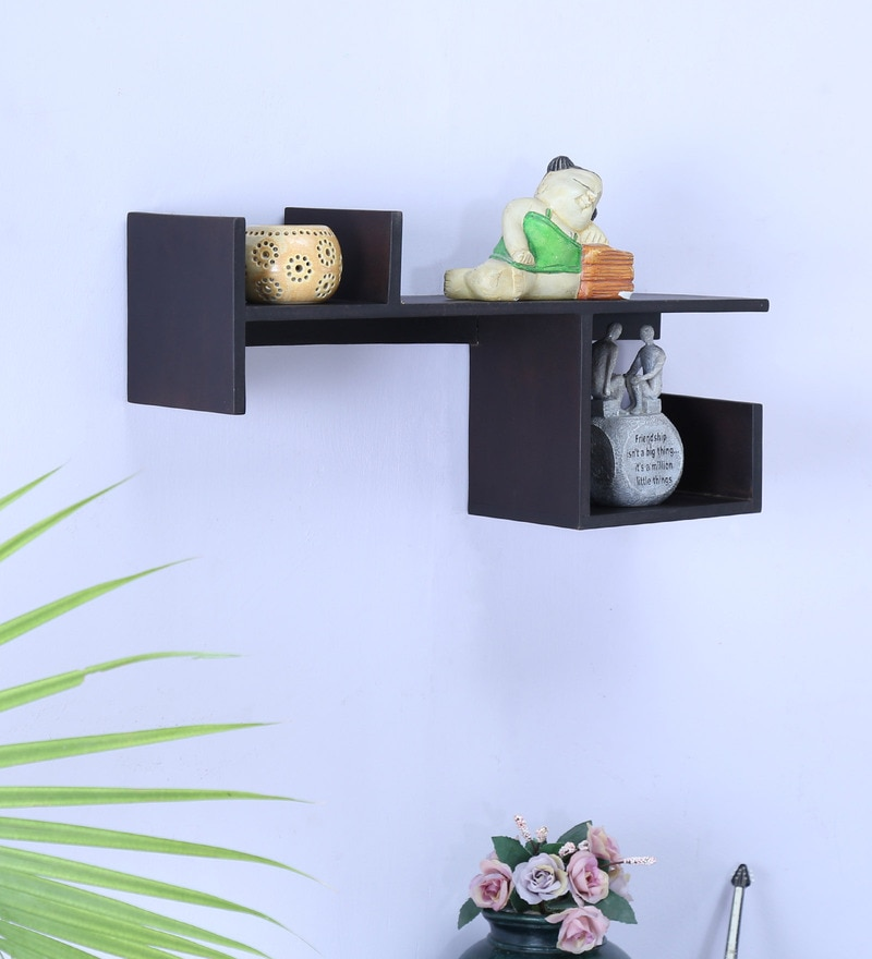 Black Wood Wall Shelf by La Stella