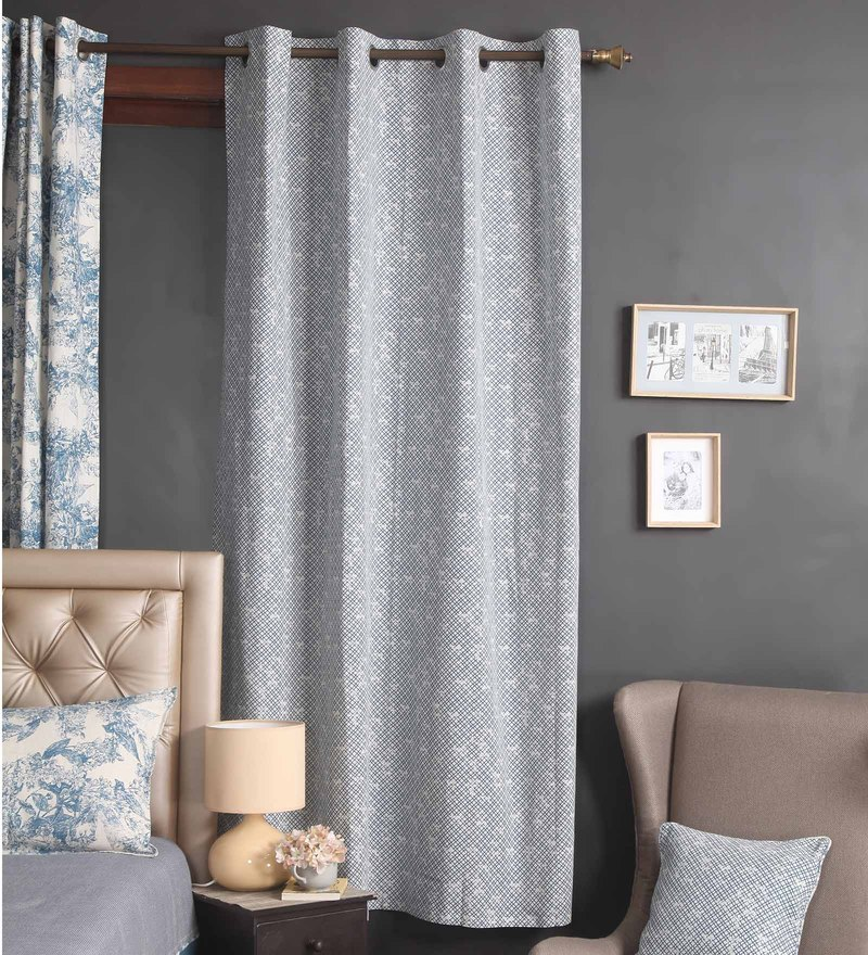 Blue Cotton 56 x 84 Inch Bali Door Curtain by Blue Alcove