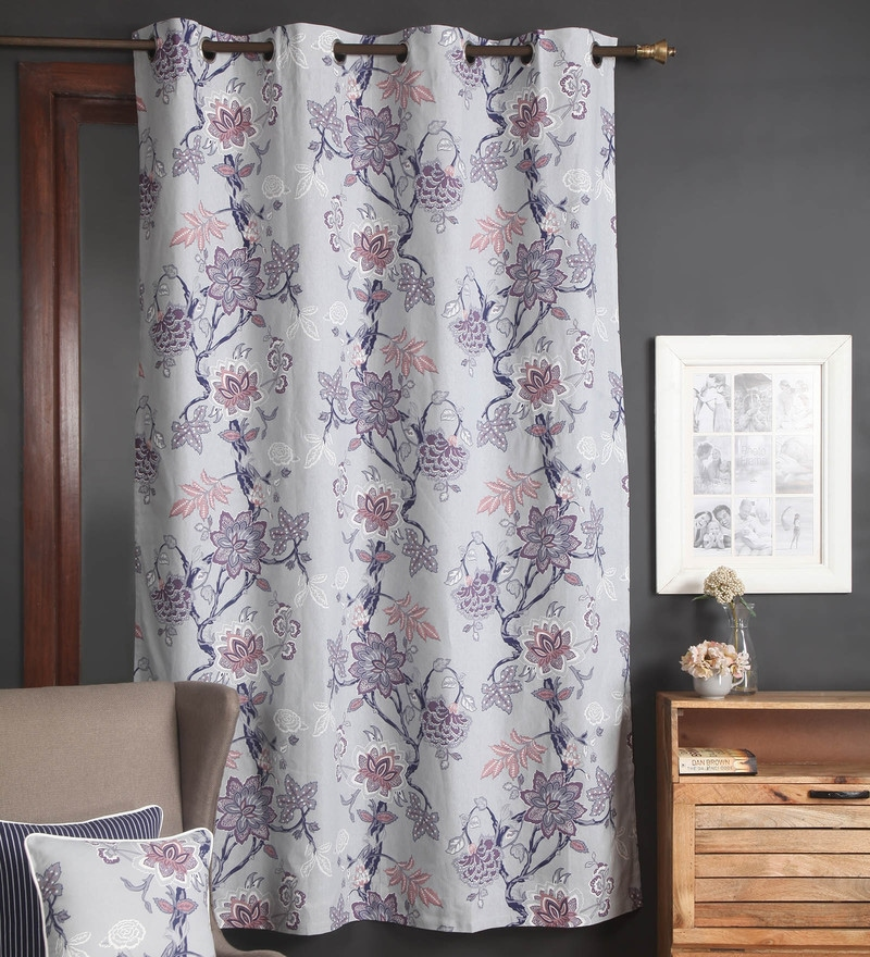 Multicolour Cotton 56 x 84 Inch Floral Door Curtain by Blue Alcove