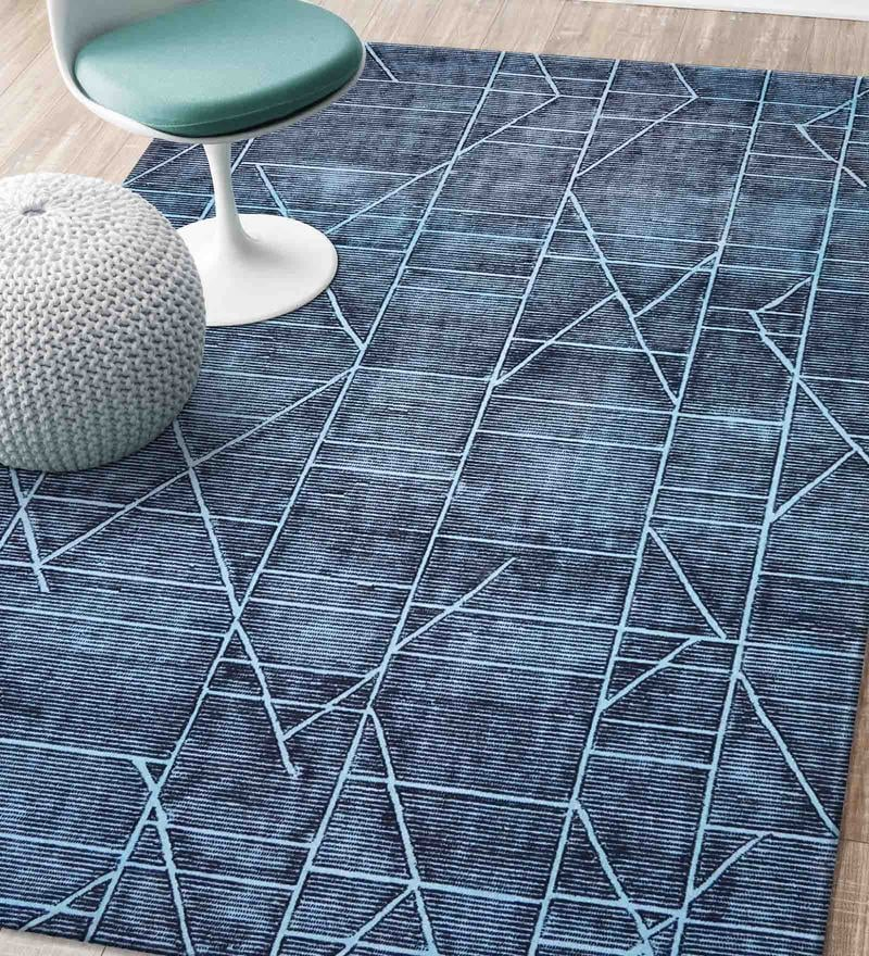 Blue Blended Wool 63.6 x 91.2 Inch Matrix Design Low Pile Hand Tufted Carpet by Designs View