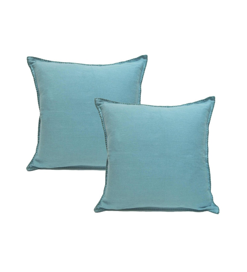 Blue Cotton 23 x 23 Inch Cushion Covers - Set of 2 by R Home
