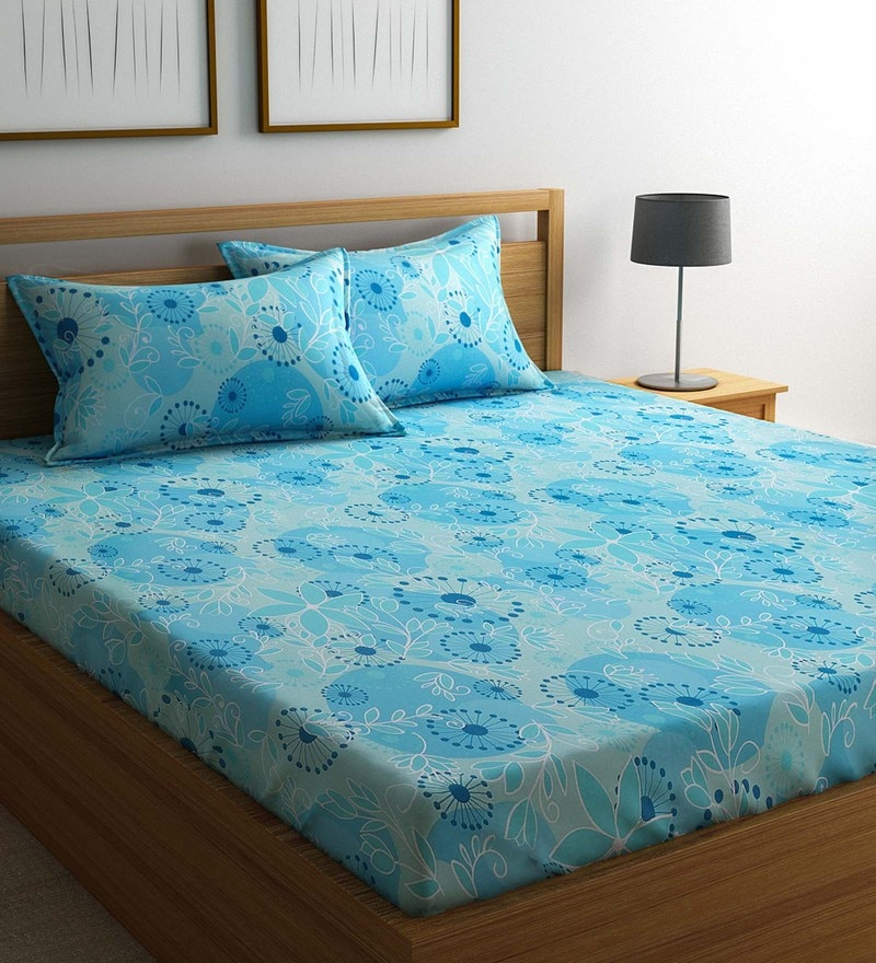 Blue Cotton 88 x 95 Inch Exclusive Bedsheet - Set of 3 by Raymond Home