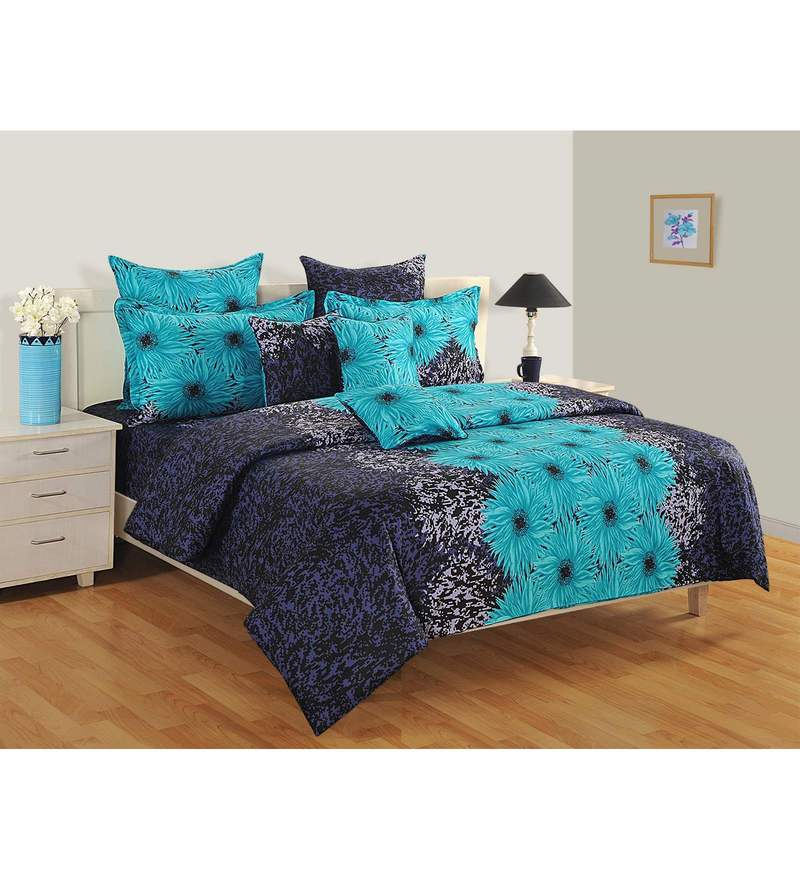 Blue Cotton Queen Size Bedsheet - Set of 3 by Swayam