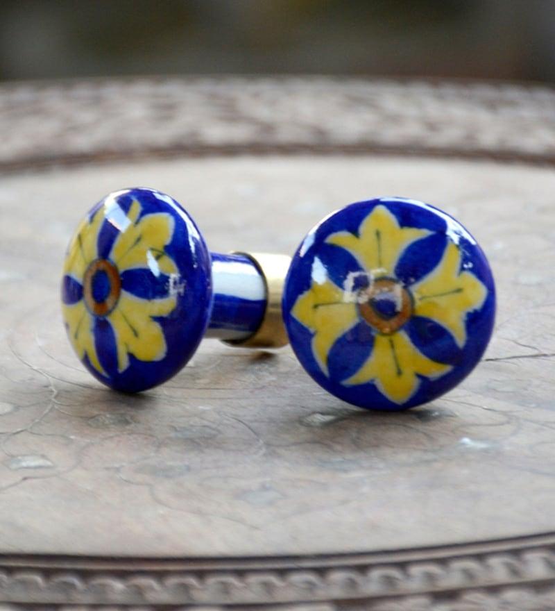 Blue Decor Multicolour Ceremic & Blue Pottery Door Knobs  - Set of 6