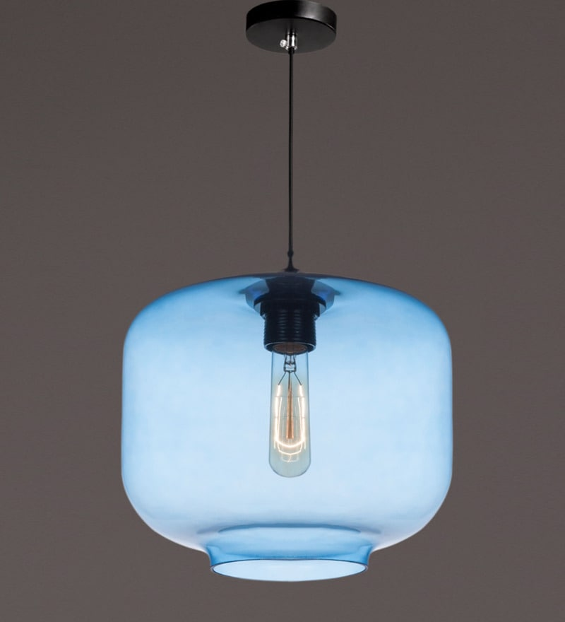 Blue Iron and Glass Pendant by Voylite