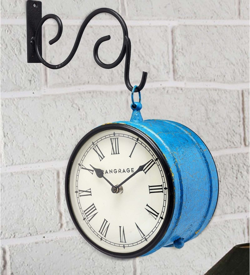 Blue MDF & Metal Handcrafted Crackle Double Side Platform Clock by Rang Rage