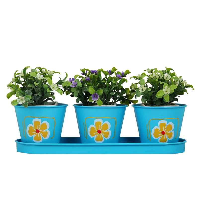 Blue Metal Round Herb Planters by Wonderland - Set of 3