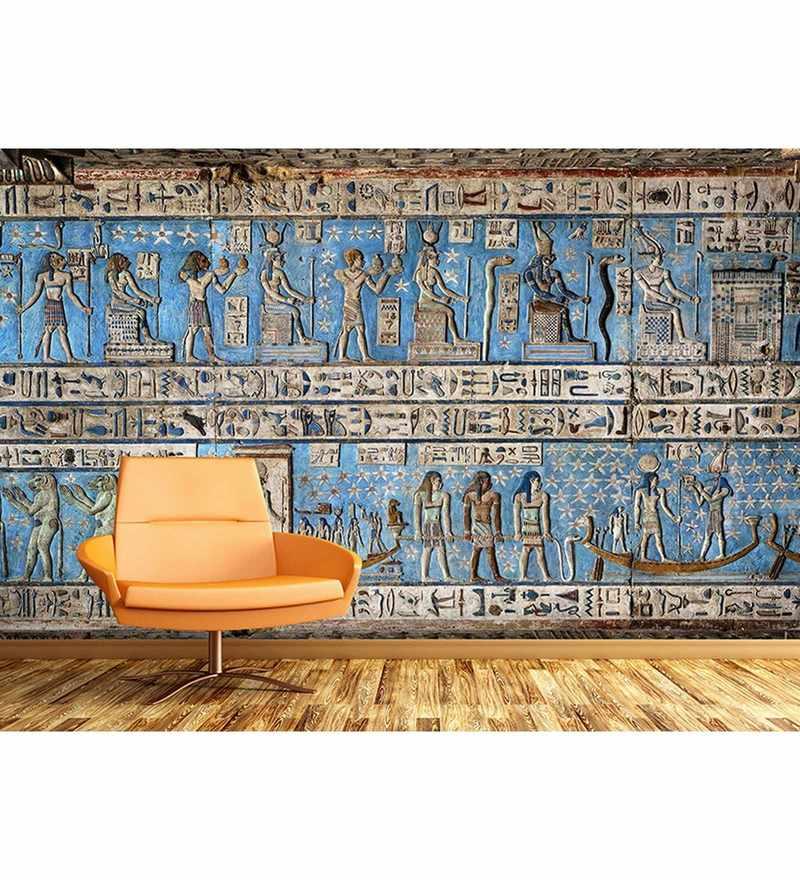 Blue Non Woven Paper The Egyptian Wall Art Wallpaper by Wallskin