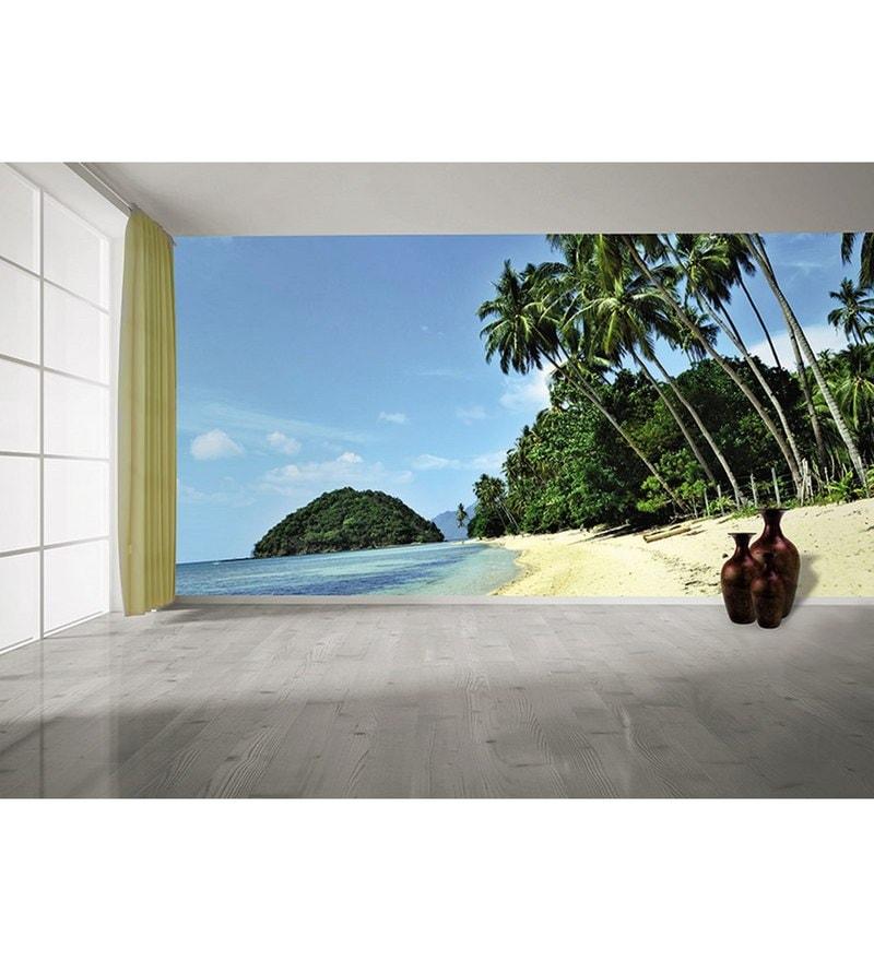Blue Non Woven Paper The Getaway Beach  Wallpaper by Wallskin