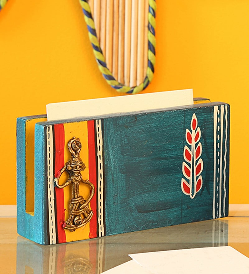 Blue Pine Wood & Brass Handpainted Business Card Holder With Dhokra Art by ExclusiveLane