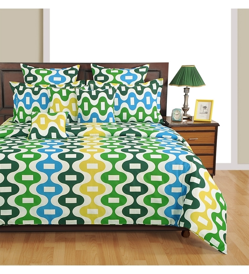 Blue Poly Cotton King Size Bedsheet - Set of 3 by Swayam