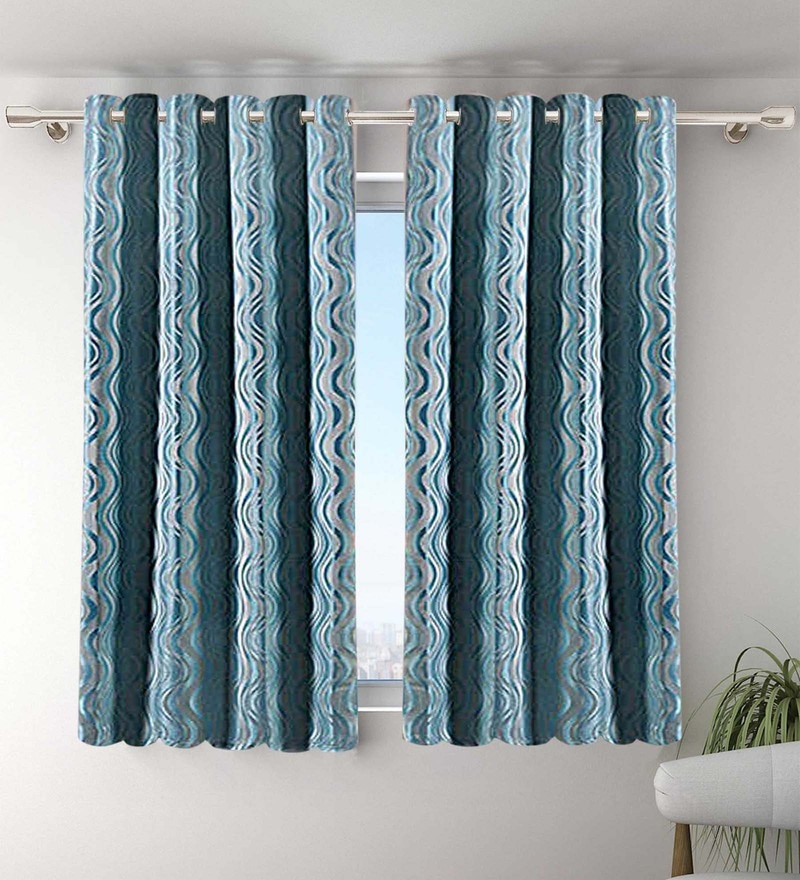 Blue Polyester Window Curtains - Set of 2 by Vista Home Fashion